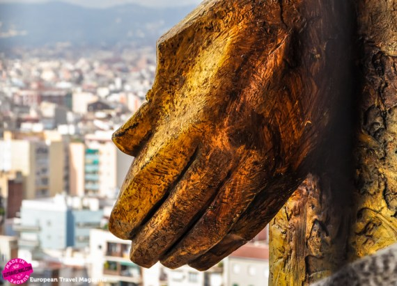 The sculptures overlooking Barcelona also look like they're blessing the city