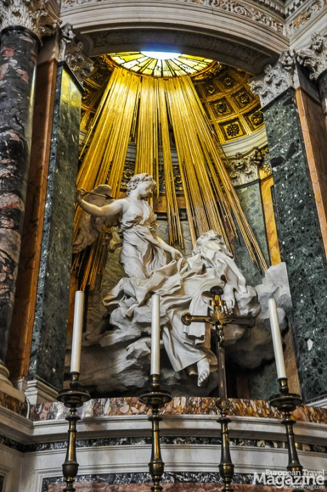 """Bernini's statue """"Ecstasy of St. Teresa"""" depicts the moment when, as St. Teresa writes in her biography, she """"..had a vision of an angel piercing her heart"""""""