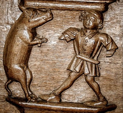 Dancing with a pig. St. Martin Church, Bolsward, Netherlands. Courtesy Elaine C. Block collection.