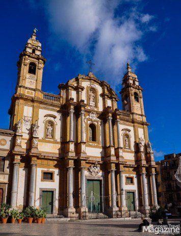 This cathedral was first erected in Norman–Gothic style, later extended in Renaissance style and at last the present church with its Baroque facade was constructed