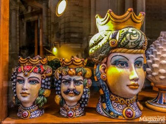 Maiolica is Italian tin-glazed pottery made in dazzling colours. The Moorish heads, also called Saracen heads, are actually flower pots.