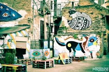 Creative Street Art in an alley near Ballarò Street Market