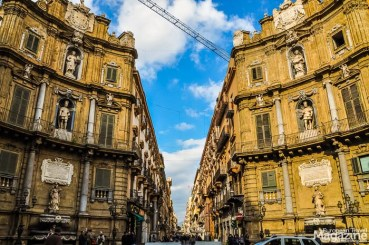 The heart of Palermo. The pedestrian shopping street of Via Maqueda meets Vittorio Emanuele, that connects the cathedral to the sea. In this crosshair - The Four Corners - you can enjoy some of Palermo's most beautiful baroque architecture. The four corners, with each their fountain, represent the four seasons of nature and life
