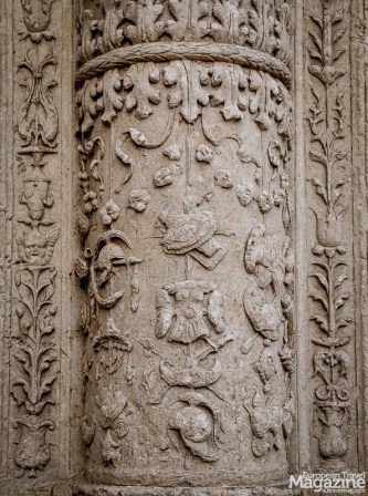 Its columns are decorated with floral motifs