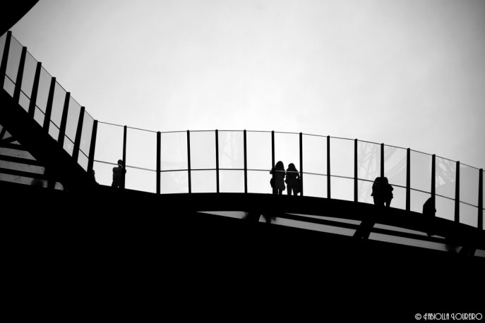 Tourists inside Eiffel Tower