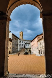 View to Piazza Duomo from inside the portico
