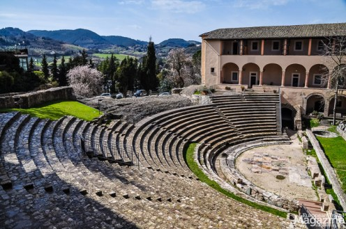 The Roman Theatre, dating back to the 1st century BC is used as backdrop for dancers at the annual Spoleto Festival Dei 2Mondi