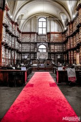 The awe-inspiring reading room, the so-called Salone Vanvitelliano, is surrounded by a high wooden shelving by Nicola Fagioli