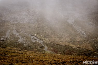 When not misty, the surrounding is framed by a spectacular scenery of the Black Cuillins