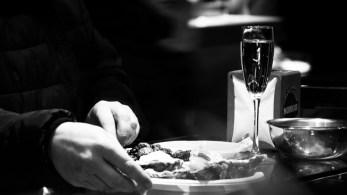 customer enjoying a glass of prosecco