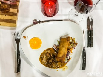 We enjoy a crepe with wild mushrooms