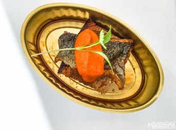 "Escabeche of Trout on Rye was served as a creative reinterpretation of ""fish in a can"""