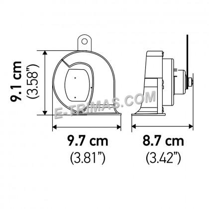 3FH940800-821 Hella Black Sleek Horn Set 24V Trumpet Horn