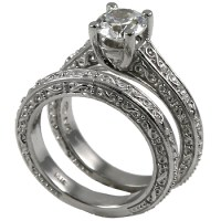 Sterling Silver Antique style Wedding Set CZ Cubic ...
