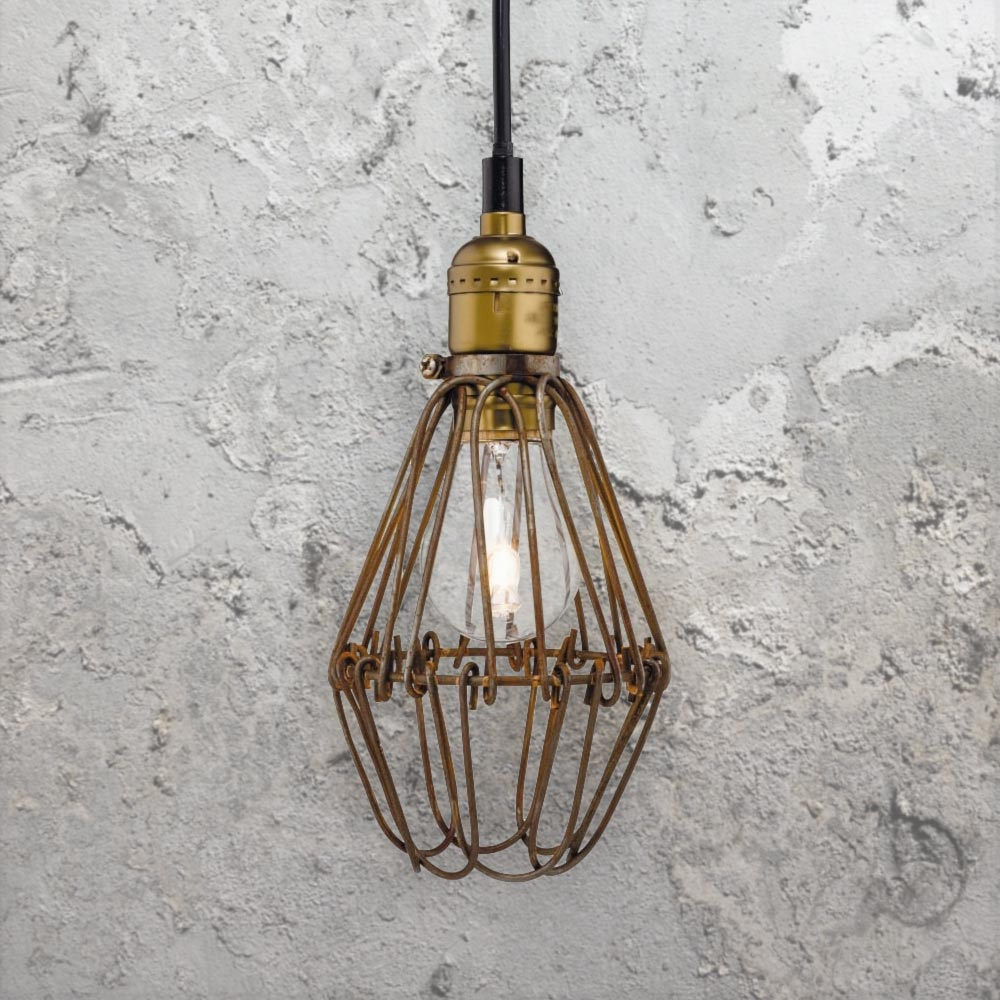 rustic cage pendant light cl 36787 e2 contract lighting uk