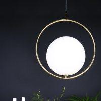 Contemporary Brass Ring Globe Pendant Light | E2 Contract ...