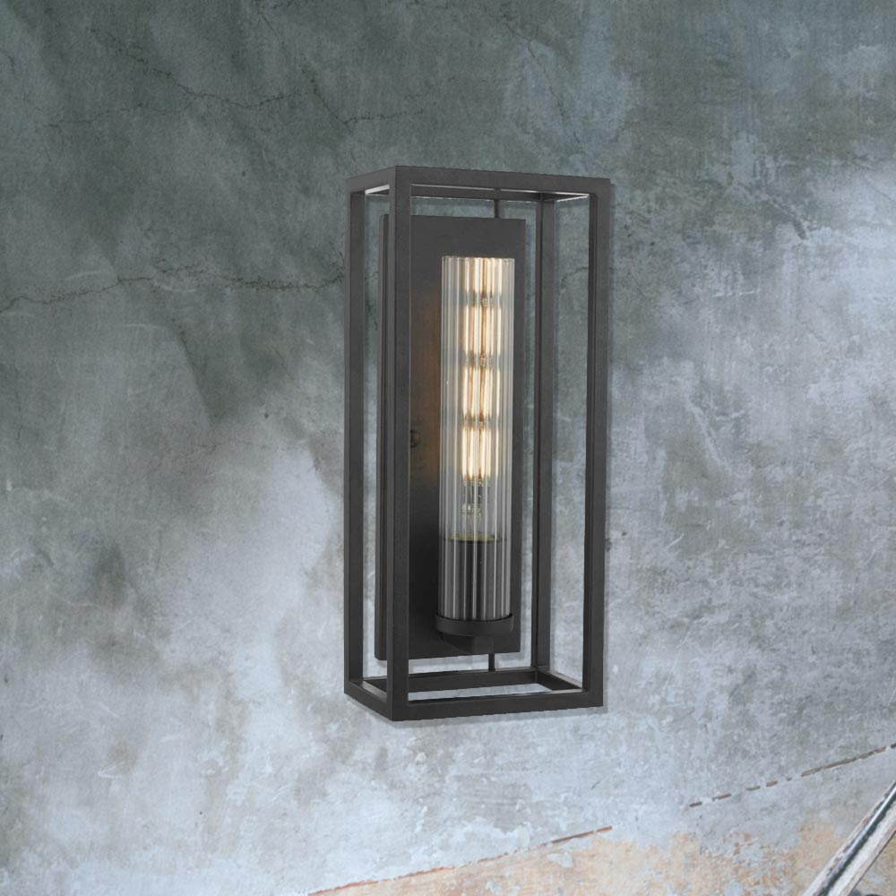 Black Metal Open Box Wall Light CL