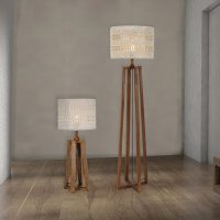Wooden Floor And Table Lamp Set CL