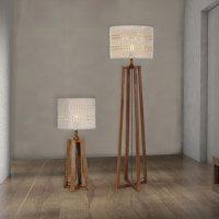 Wooden Floor And Table Lamp Set - Wooden Floor Lamp