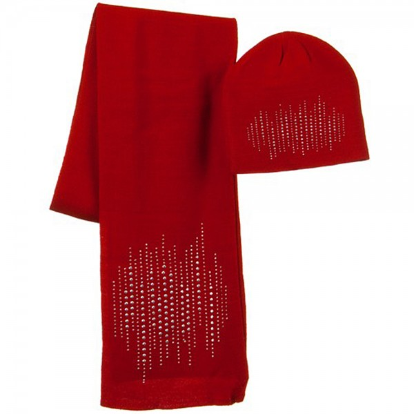 Lined Studs Solid Beanie and Scarf Set - Red