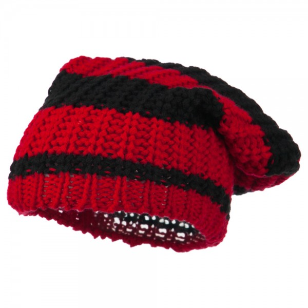Two Tone Knit Deep Beanie - Red Black