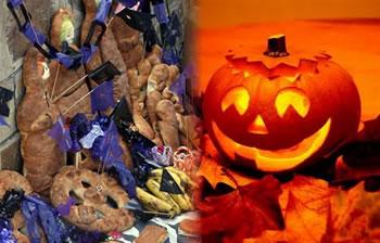 La Tantawawa (muñecos de pan) de Todos Santos y la calabaza de Halloween.