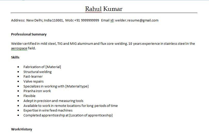 Resume Format For Welder In Word Format Welder