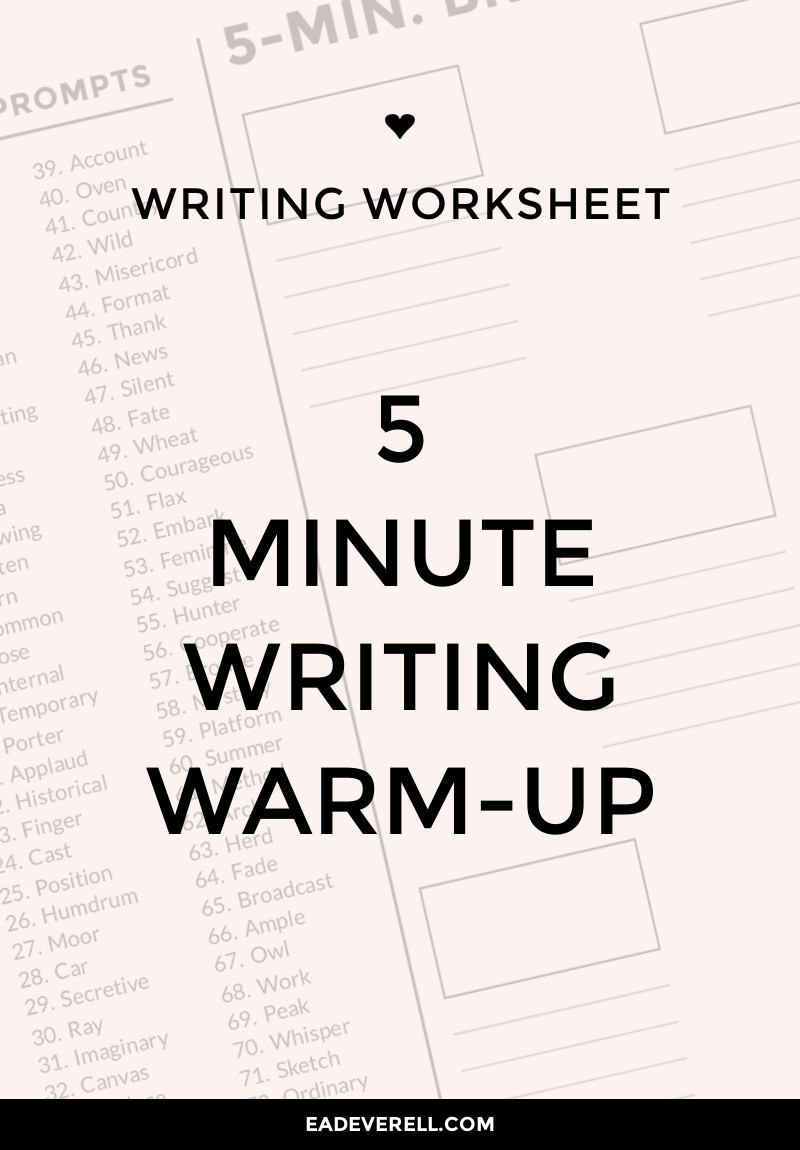 5 Minute Freewrite (Journal Worksheet Wednesday