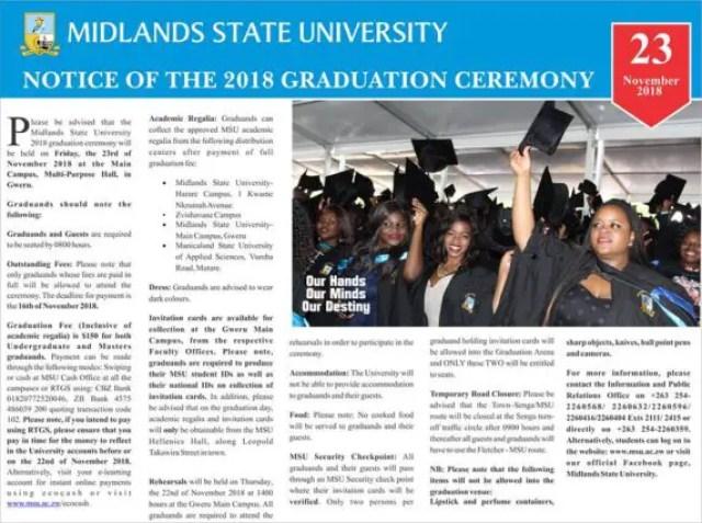 Midlands State University, MSU Graduation List: 2018