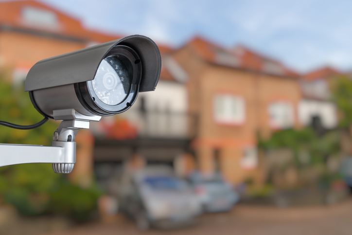 Security camera watching over a neighborhood