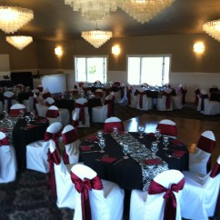 Burgundy Chair Covers Wedding Iron Outdoor Chairs Weddings At Eagle Hills Golf Course Black Table Cloths With Napkins Water Goblet Champagne Glass And Flatware Included Room Rental White Satin Sash