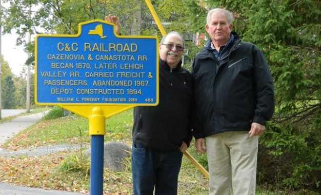 Cazenovia train depot recognized by historic sign