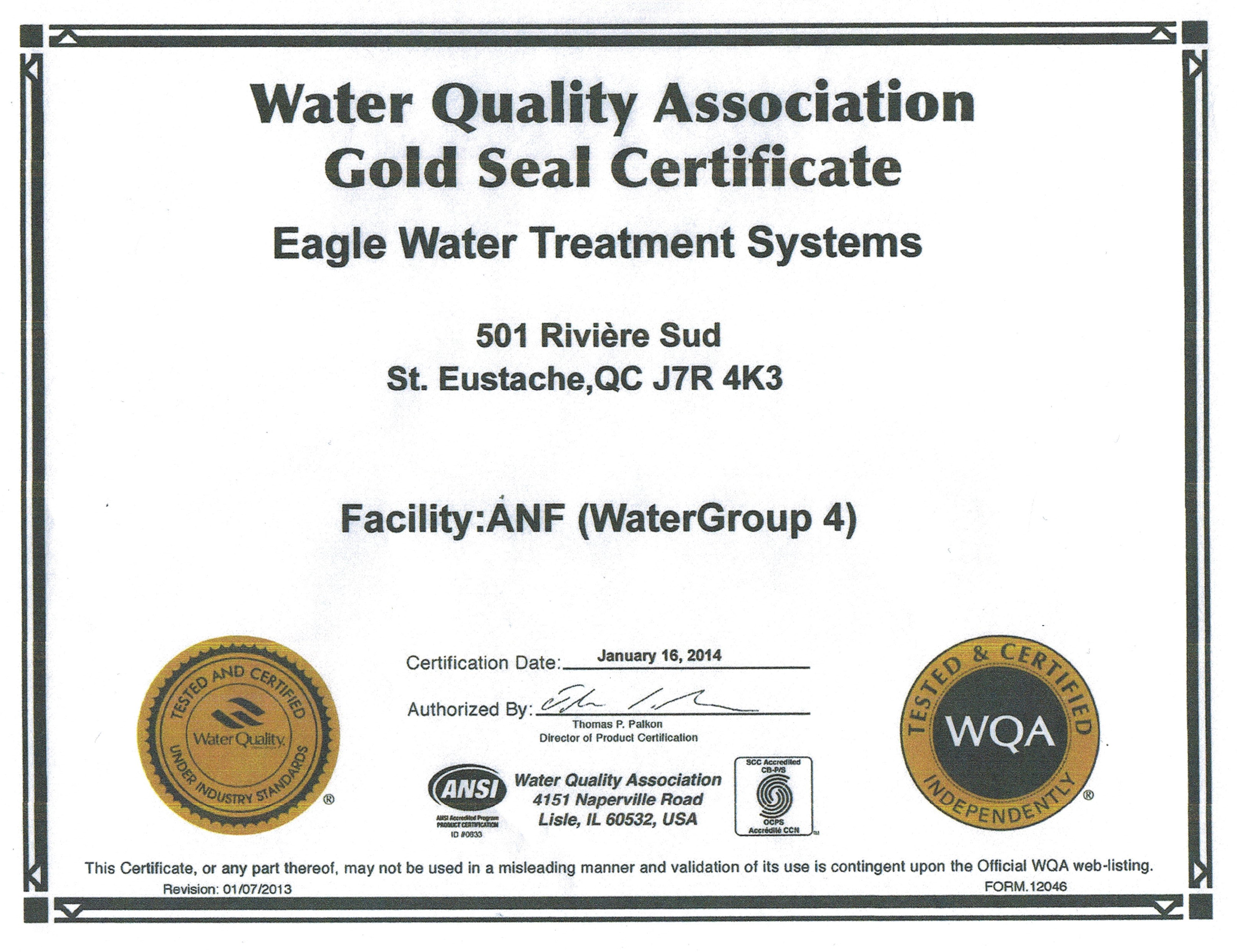 Certifications Partners Eagle Water Treatment Systems