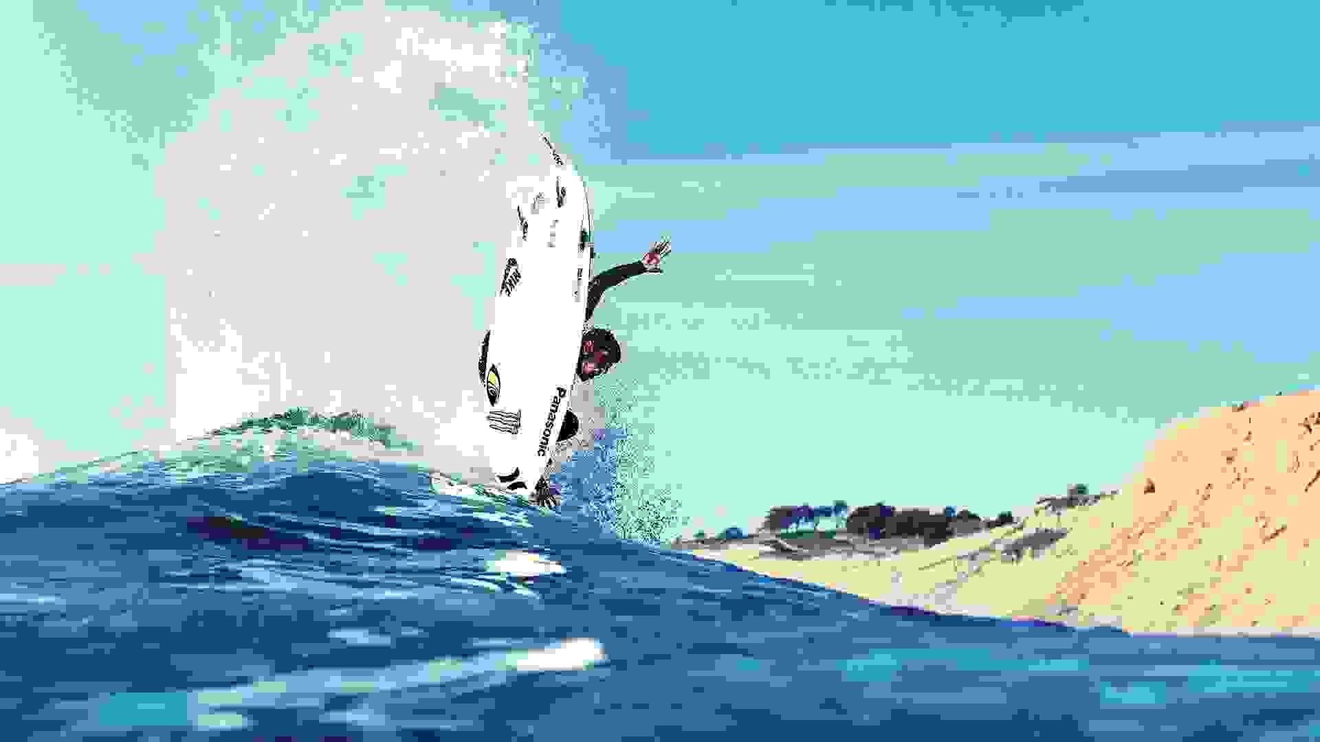 Surfer jumping on waves