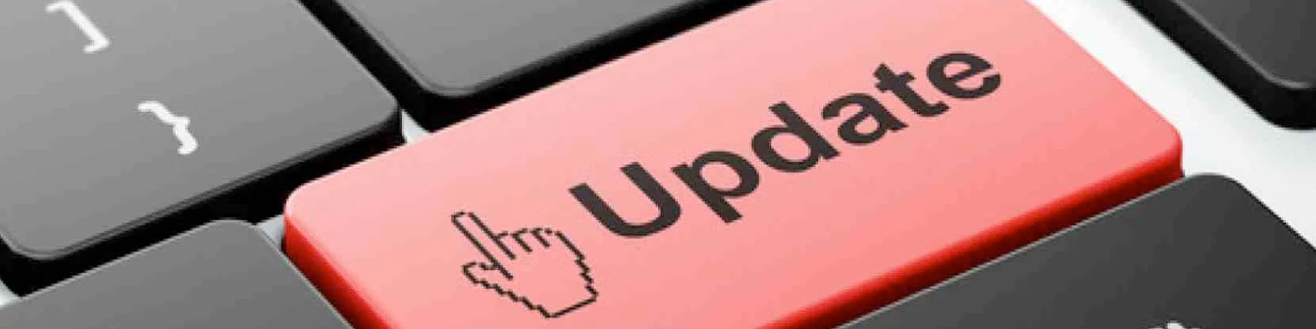 "A return key on the keyboard with the word ""Update"" imprinted on it."