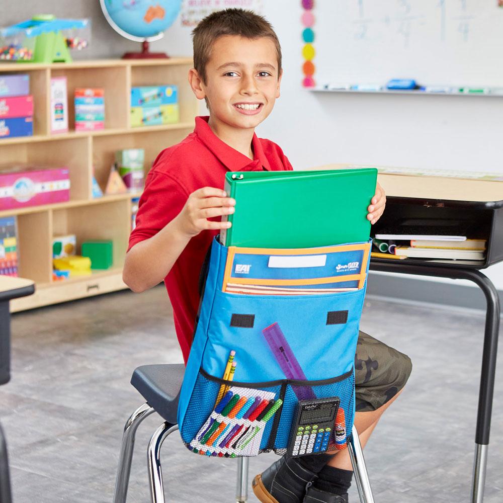 NeatSeat Classroom Chair Organizer Set of 4  Blue  Web
