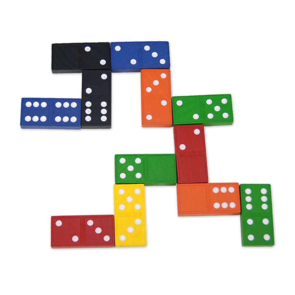 Double-Six Dominoes: Wood: Color - 6 Sets of 28 - Common Core State Standards   EAI Education