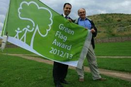 Cllr Bassam Mahfouz and David Shirvell from the Northolt and Greenford Countryside Park Society celebrate getting the green flag