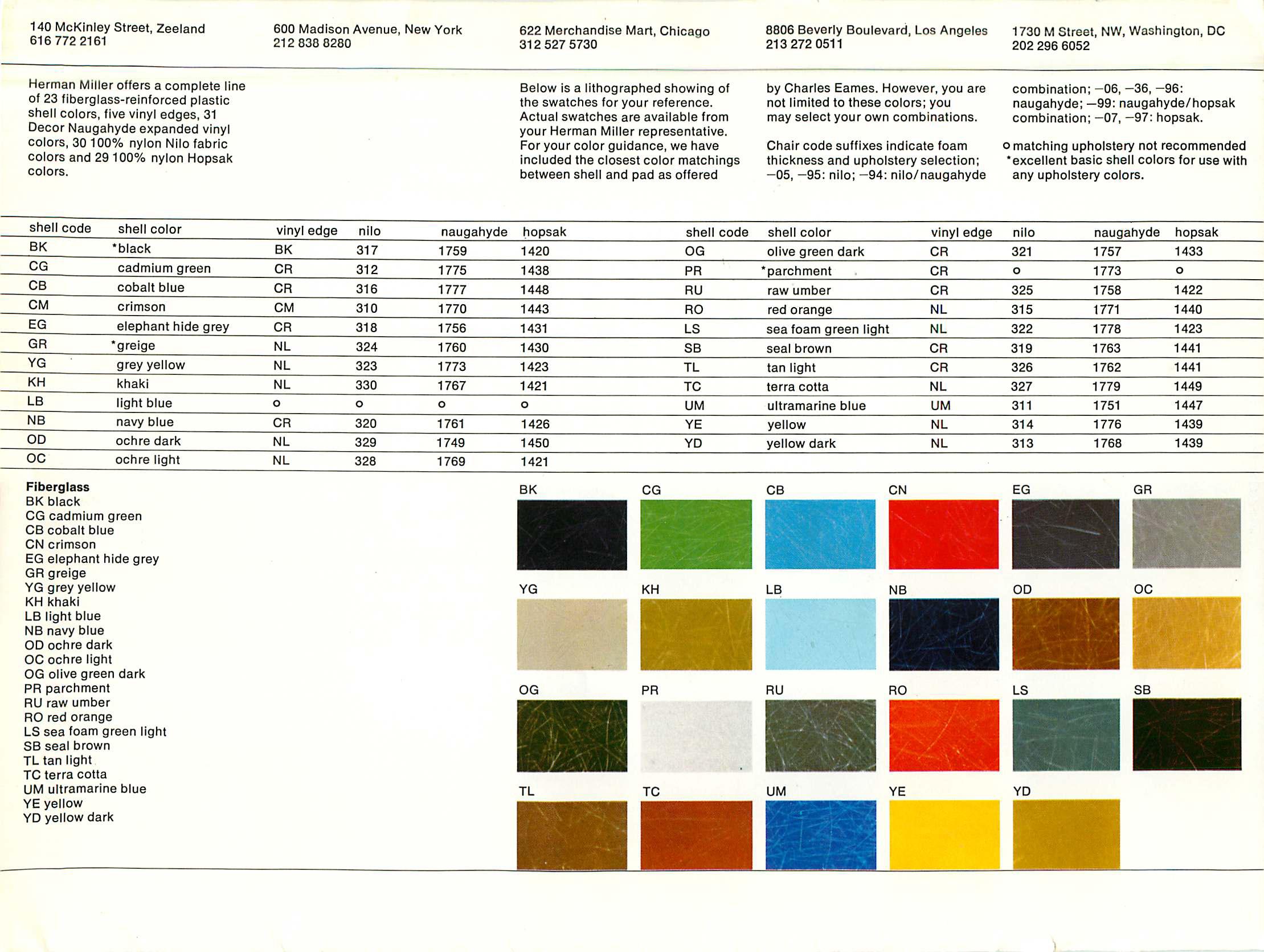 Eames Fiberglass Chair Colors 1968  Eames Office