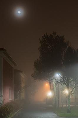 På väg hem i den dimmiga novemberkvällen
