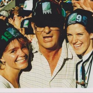 My sisters Liz & Megs with Dad at the World Cup in 1995