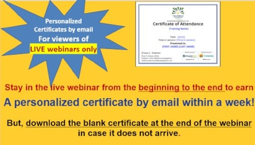 Certificates Early Childhood Webinars