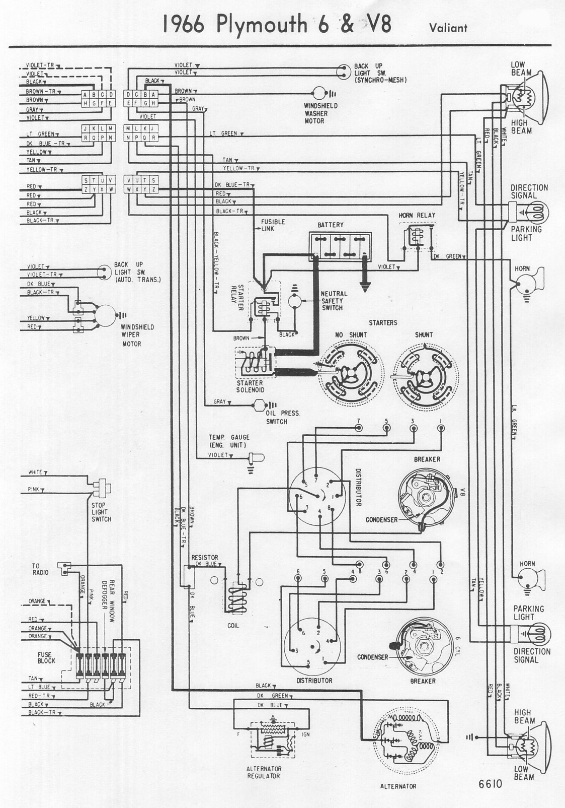 Plymouth Fury Wiring Diagram Schematic