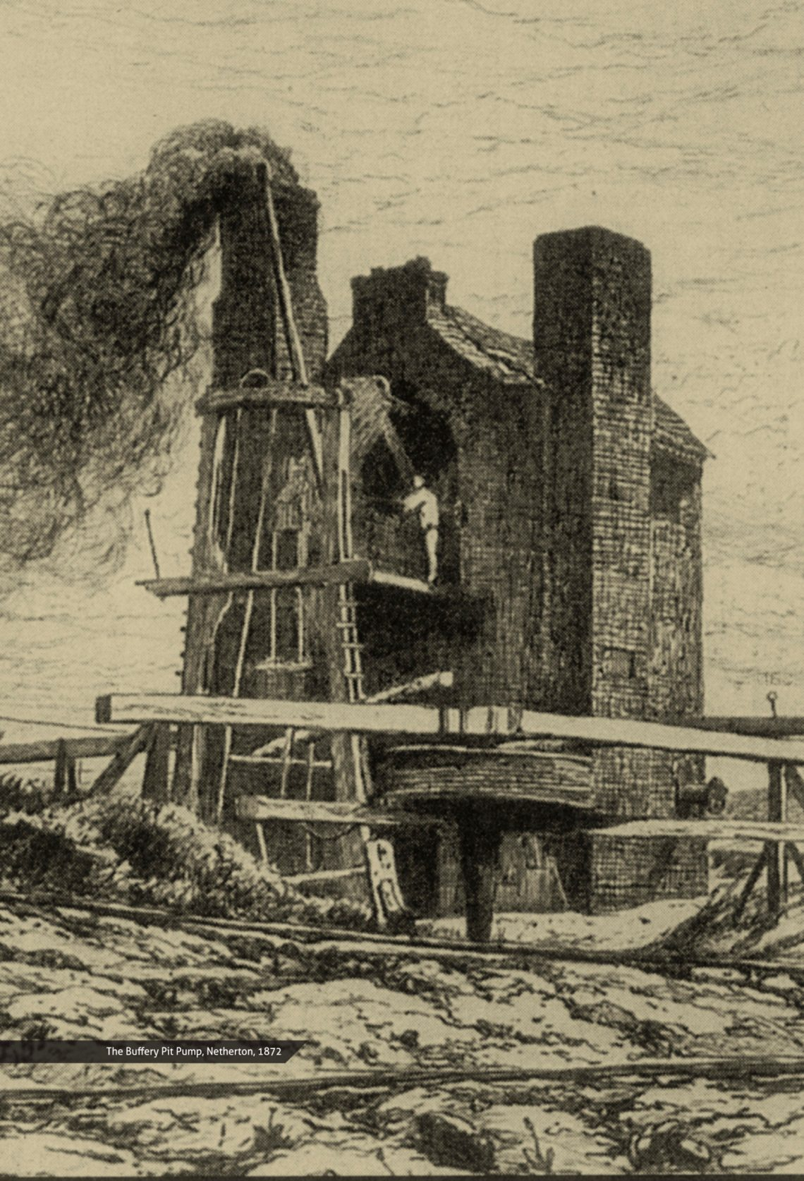 Image of the old Bufferty pumping engine in the West Midlands from 1872 (contemporary sketch)
