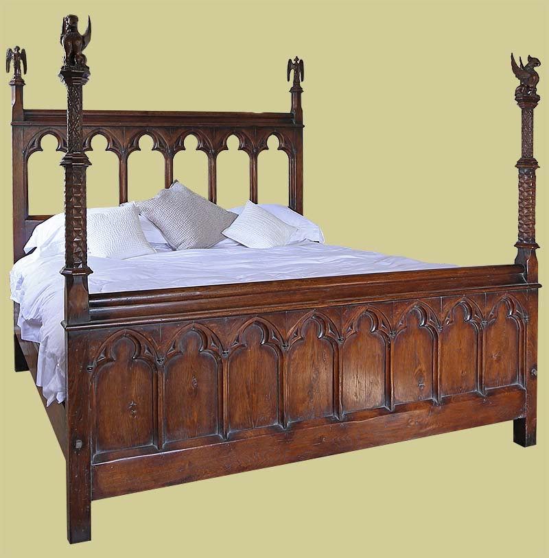 Unique Late Gothic Style Oak Carved Bed for Converted Chapel