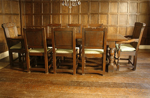 Carved Oak Dining Table  Chairs in Tudor Panelled Room