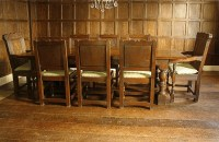 Carved Oak Dining Table & Chairs in Tudor Panelled Room
