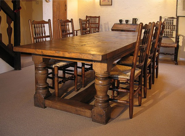 Heavy Oak Table And Spindle Back Chairs In Cheshire Cottage