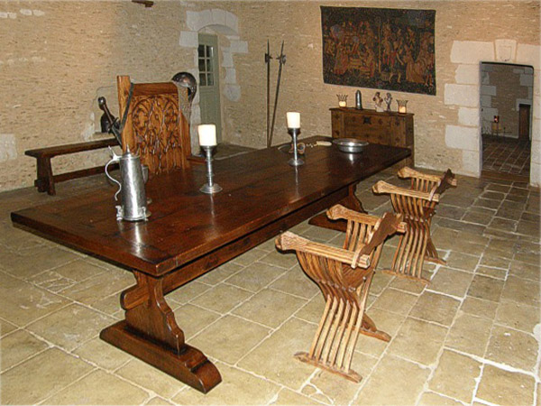 Medieval Style Oak Trestle Table in Old French Property