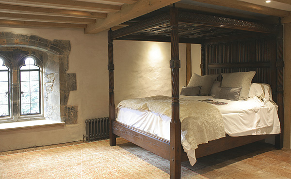 Tudor Style Carved Oak Four Poster Bed in Sussex Manor House